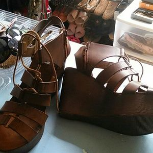 Steve Madden Brown Leather Lace Wedge Shoes
